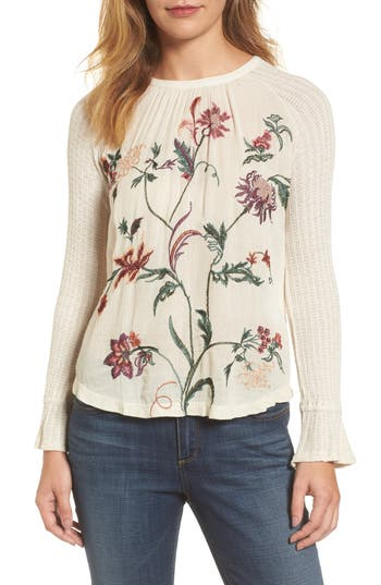 Lucky Brand Raglan Sleeve Embroidered Front Top