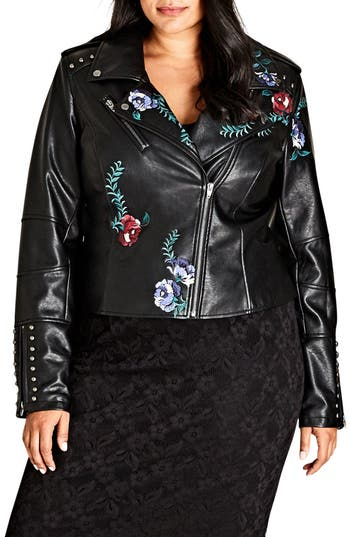 Embroidered Rose Faux Leather Biker Jacket