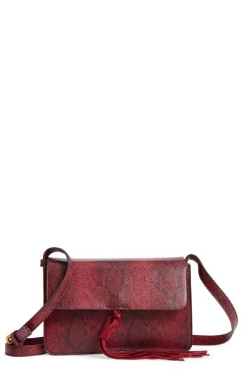 Street Level Snake Embossed Faux Leather Crossbody Bag