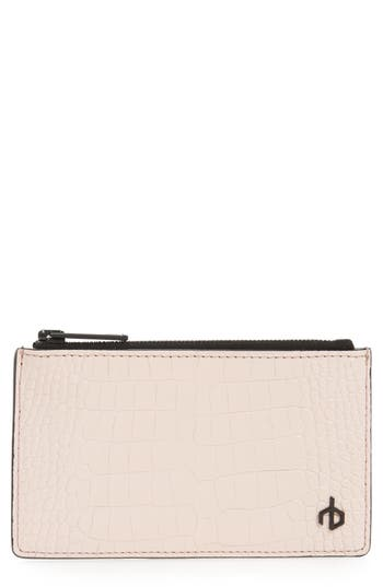 rag & bone Croc Embossed Leather Zip Card Case