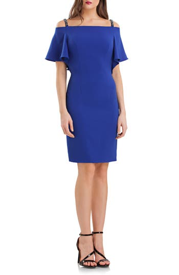 Carmen Marc Valvo Infusion Off the Shoulder Flutter Sheath Dress