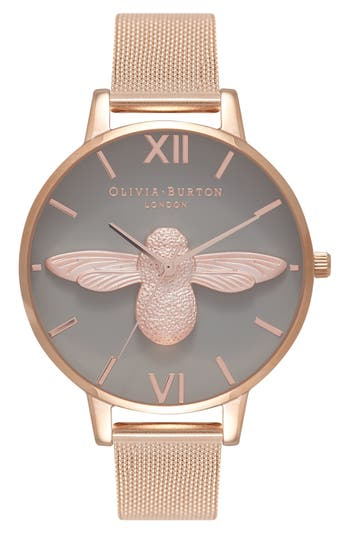 Molded Bee Mesh Strap Watch, 38mm by Olivia Burton