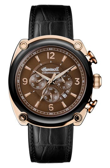 Ingersoll Michigan Leather Strap Chronograph Watch 45mm