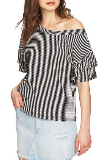 1 STATE Ruffle Off The Shoulder Tee