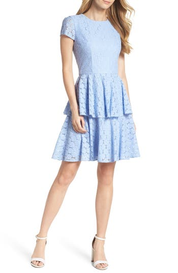 Margaret Poppy Jacquard Fit & Flare Dress by Gal Meets Glam Collection