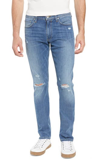 PAIGE Transcend Lennox Slim Fit Jeans Cartwright Destructed