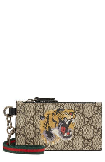 Gg Supreme Tiger Print Lanyard Card Case by Gucci