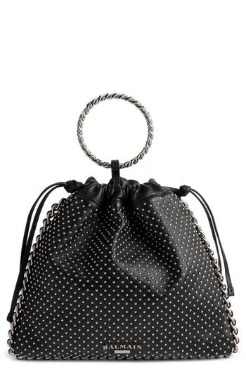 Studded Leather Bracelet Backpack by Balmain