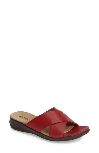 SoftWalk? 'Tillman' Leather Cross Strap Slide Sandal (Women)