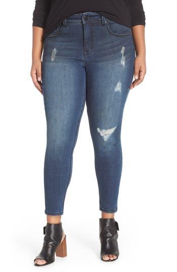 Melissa McCarthy Seven7 Distressed Pencil Leg Jeans (Rebel) (Plus Size)