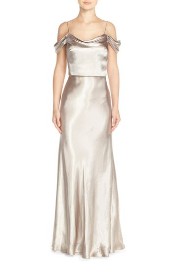 Jenny Yoo 'Sabine' Draped Pleat Neck Charmeuse Gown