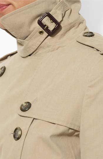 Double Breasted Trench Coat,                             Alternate thumbnail 3, color,                             Racing Khaki
