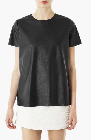 Main Image - Topshop 'Paloma' Faux Leather Tee
