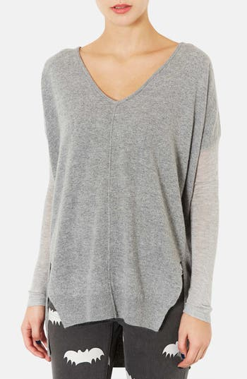 Main Image - Topshop Mixed Media Drop Shoulder Sweater