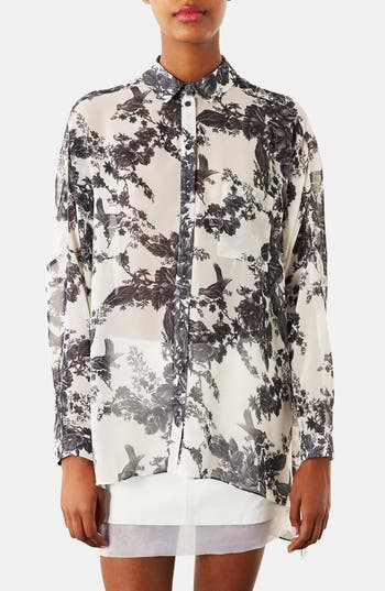 Alternate Image 1 Selected - Topshop Floral Print Chiffon Blouse