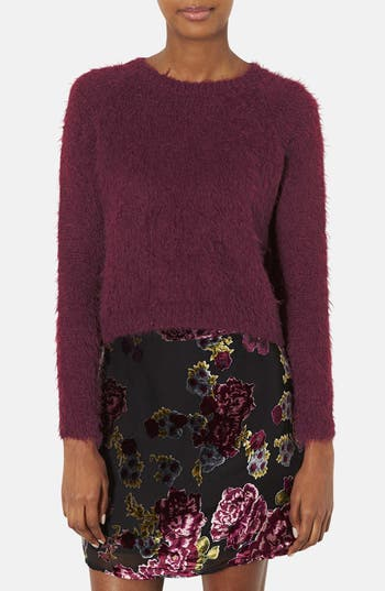Main Image - Topshop 'Monster Rib' Textured Crewneck Crop Sweater