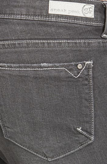 Alternate Image 3  - SP Black Destroyed Skinny Jeans (Dark Grey) (Juniors)