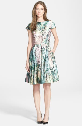 Ted Baker London Glitch Floral Print Fit Amp Flare Dress