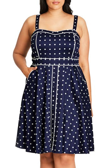 City Chic Sweet Darling Piped Dot Print Fit & Flare Dress