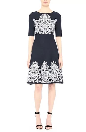 Nellore Jacquard Knit Fit & Flare Dress, video thumbnail