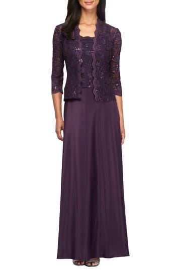 Alex Evenings Sequin Lace & Sa..