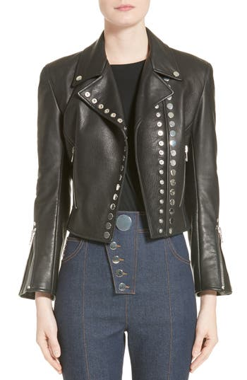 Alexander Wang Snap Leather Moto Jacket