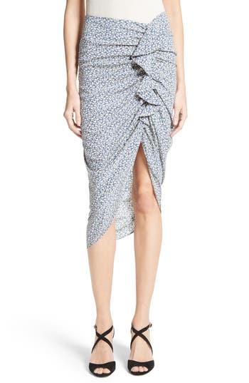 Veronica Beard Hazel Ruffle Ruched Silk Skirt