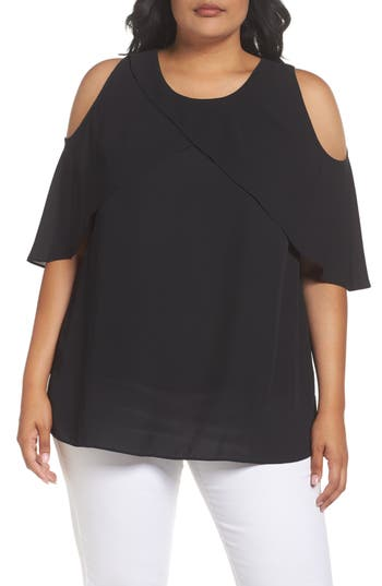 Vince Camuto Cold Shoulder Ruffled Blouse (Plus Size)