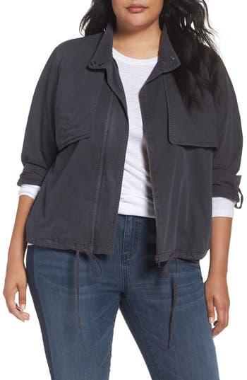 Caslon® Crop Utility Jacket (Plus Size)