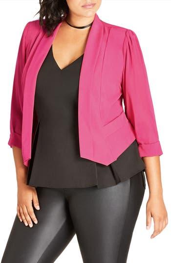 City Chic Sheer Sleeve Crop Blazer (Plus Size)