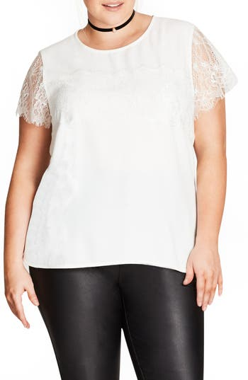 City Chic Lace Panel Top (..