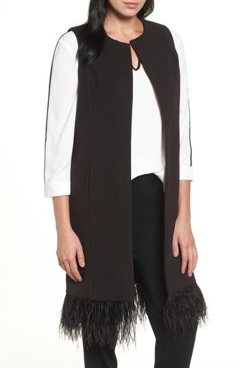 Ming Wang Faux Feather Trim Long Vest