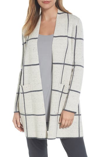 Eileen Fisher Long Check Knit Jacket