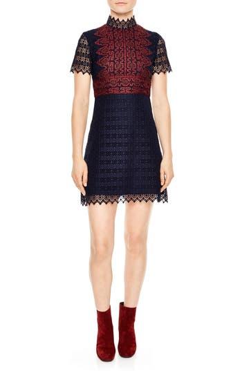 sandro Mixed Lace A-Line Dress