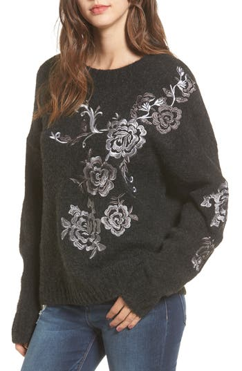 BLANKNYC Grey Gardens Embroidered Sweater
