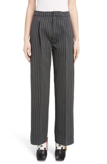 Jacquemus Pinstripe Pleated Wide Leg Wool Pants