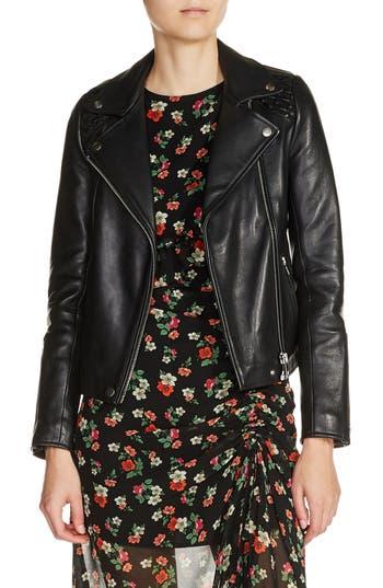 maje Braided Shoulder Leather Jacket