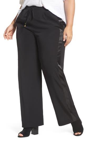 ELVI Satin Stripe Wide Leg Pants (Plus Size)