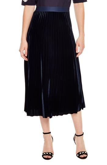 sandro Pleat Velvet Midi Skirt