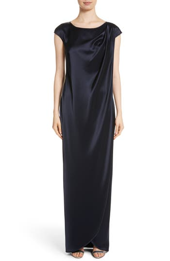 St. John Evening Bateau Neck Liquid Satin Column Gown
