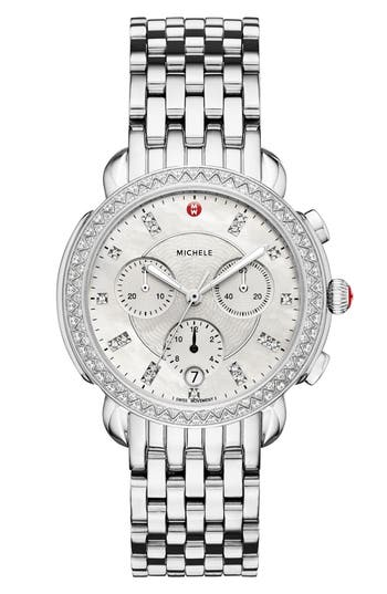 MICHELE Sidney Chrono Diamond Diamond Dial Watch Case, 38mm