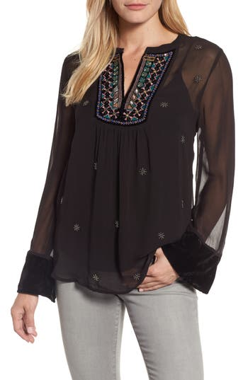 Velvet by Graham & Spencer Beaded Georgette Blouse