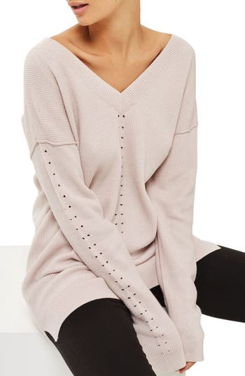 Topshop Perforated V-Neck Sweater Dress