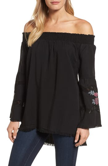 Billy T Off The Shoulder Embroidered Top