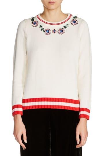 maje Embellished Cotton & Wool Sweater