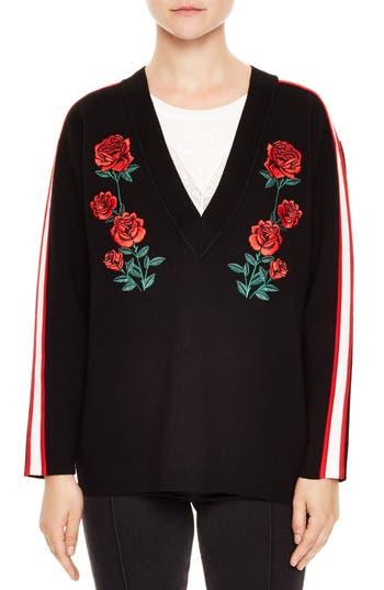 sandro Indira Rose Embroidered Sweater