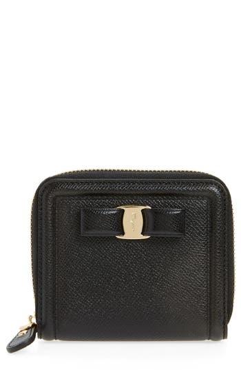 Salvatore Ferragamo Vara Leather Zip Around French Wallet