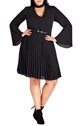 City Chic Praise Me Bell Sleeve Choker Neck Dress (Plus Size)