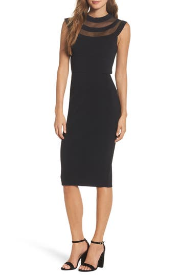 Eliza J Illusion Mesh Body-Con Dress (Regular & Petite)
