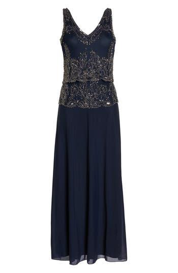 Pisarro Nights Beaded Tiered Popover Gown (Regular & Petite)
